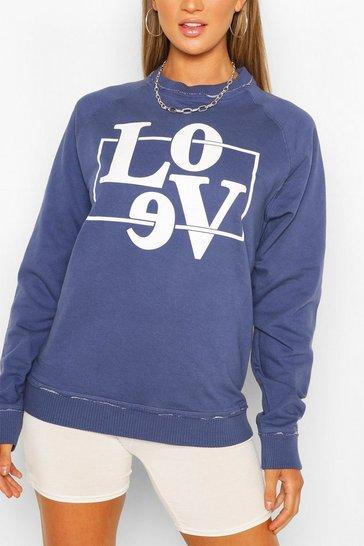 Indigo Love Box Oversized Boyfriend Sweat