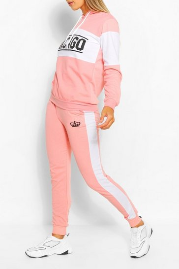 Pink Colourblock Chicago Slogan Tracksuit