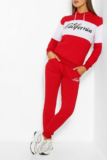 Red Colourblock California Slogan Tracksuit