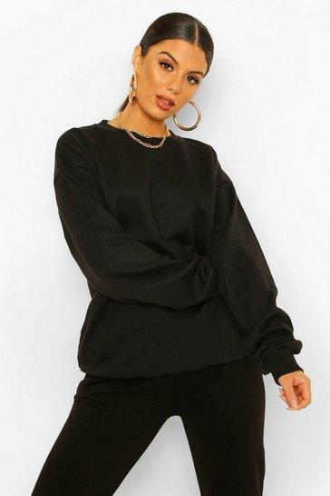 Black Basic Oversized Sweatshirt
