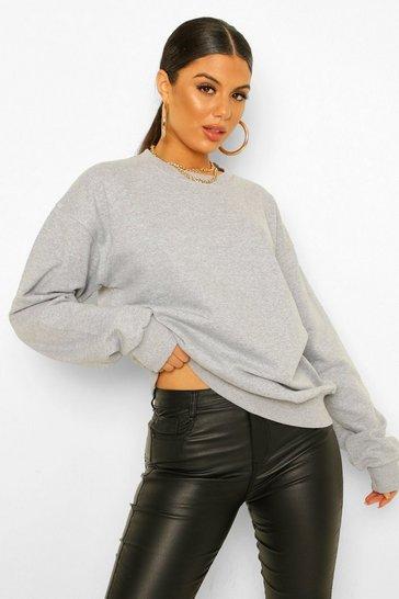 Grey Basic Oversized Sweatshirt