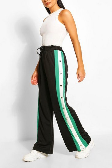 Emerald Contrast Panel Popper Wide Leg Joggers