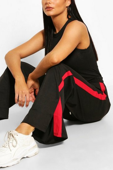 Red Contrast Panel Wide Leg Joggers