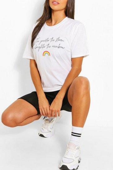 White NHS Charity Rainbow Slogan T-Shirt