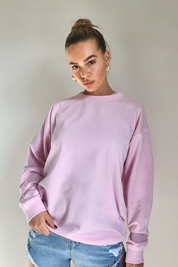 Pink Solid Colour Crew Neck Sweat