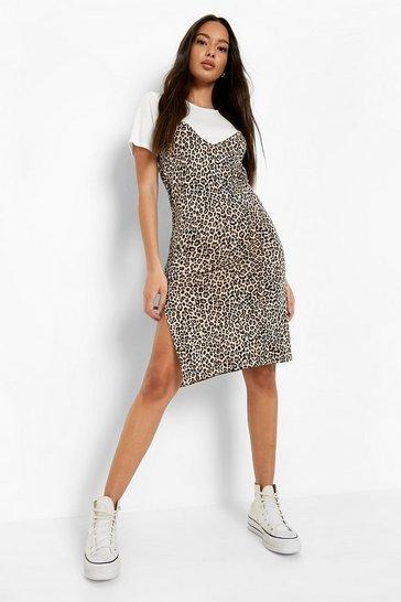 Natural Leopard Print Slip Dress