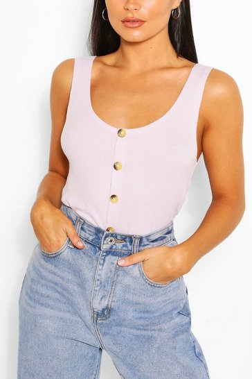 Lilac Button Front Cami Top