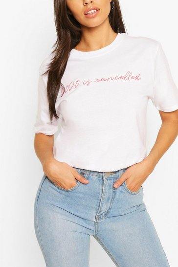 White 2020 Is Cancelled Slogan Tee