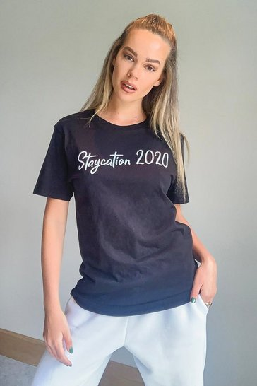 Black Staycation 2020 Slogan Tee