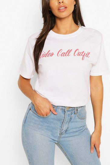 White Video Call Outfit Slogan Tee