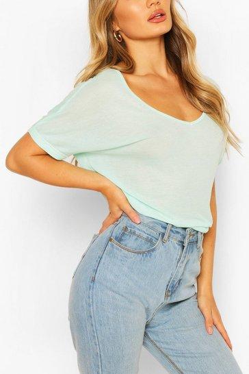 Mint Oversized Scoop Neck Rib T-Shirt