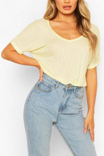 Yellow Oversized Scoop Neck Rib T-Shirt