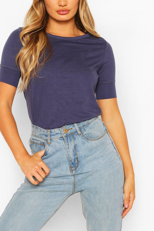 3/4 Sleeve Curved Hem T-Shirt - Blue - S, Blue