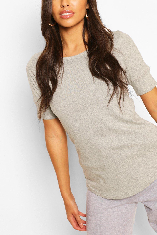 3/4 Sleeve Curved Hem T-Shirt - Grey - L, Grey