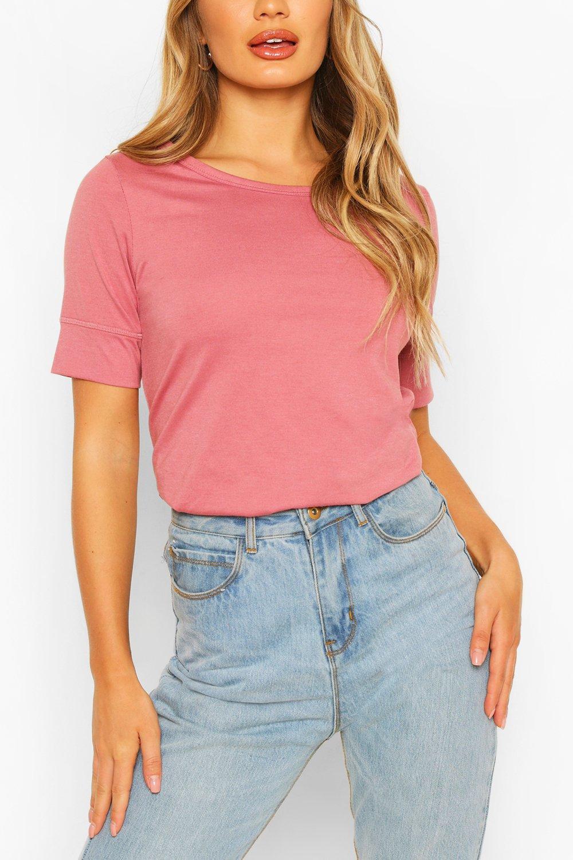 3/4 Sleeve Curved Hem T-Shirt - Pink - S, Pink
