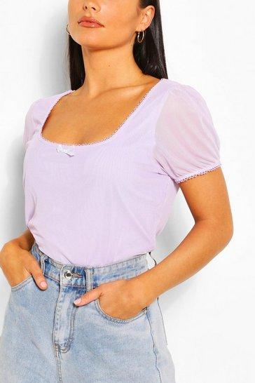 Lilac Lettue Hem Mesh T-Shirt