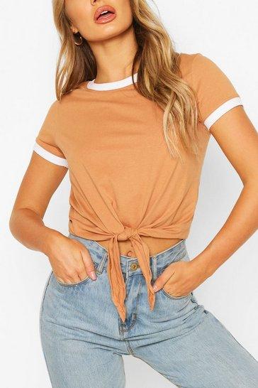 Camel Contrast Colour T-Shirt