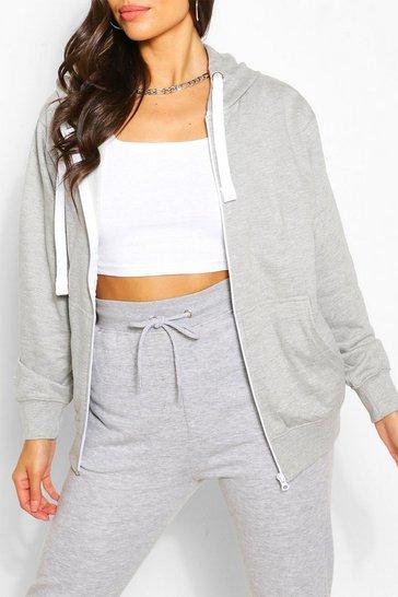 Grey Basic Loopback Zip Through Hoodie