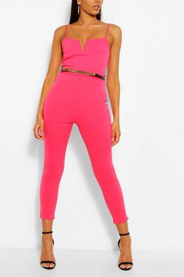 Hot pink Plunge Belted Skinny Jumpsuit
