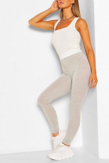 Grey marl Contrast Waistband Basic Jersey Leggings