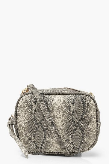Grey Cross Body Snake Bag