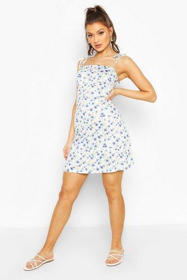 Blue Floral Strappy Mini Dress