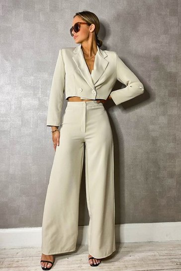 Stone Woven Tailored Cropped Blazer
