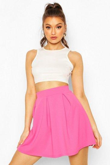 Pink Crepe Box Pleat Skater Skirt