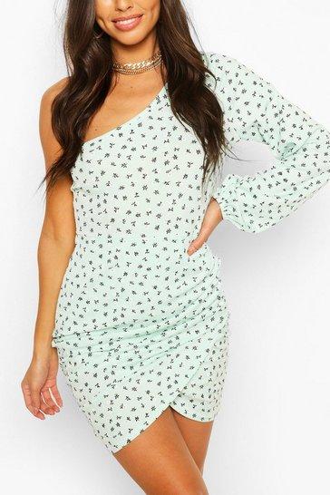 Mint Ditsy Floral Rib One Shoulder Mini Dress