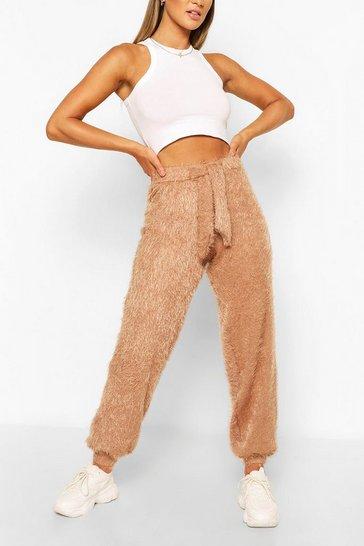 Camel Fluffy Knit Oversized Joggers