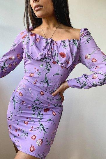 Lilac Woven Floral Cup Detail Mini Dress
