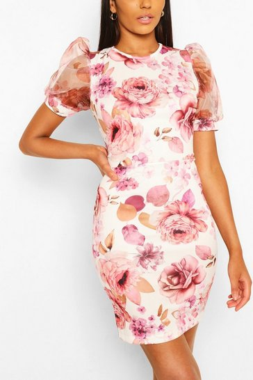 White Floral Organza Sleeve Midi Dress