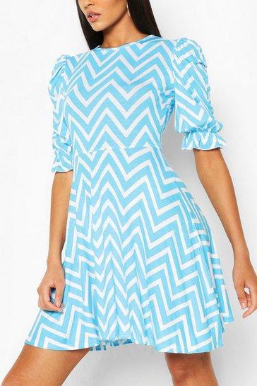 Blue Zigzag Puff Sleeve Skater Dress