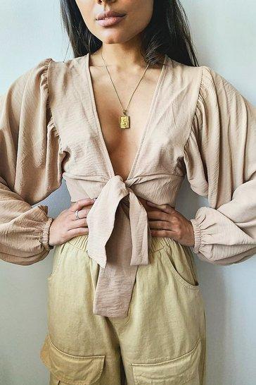 Camel Woven Tie Front Oversized Sleeve Crop Top