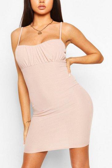 Blush Strappy Rib Mini Dress