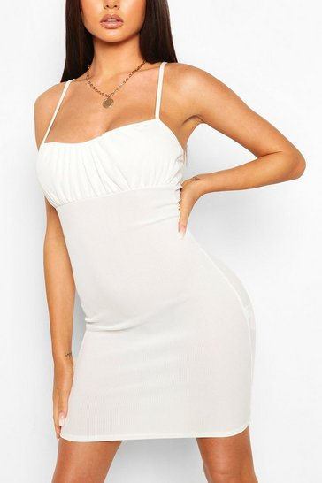 Ivory Strappy Rib Mini Dress