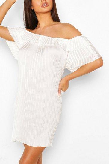 White Pleated Ruffle Sleeve Smock Dress