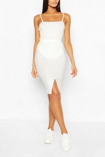Ivory Recycled Rib Split Front Midi Skirt