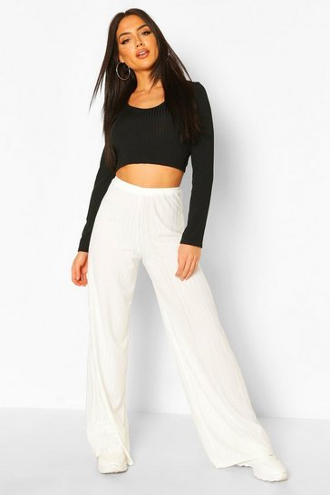 Ivory Recycled Rib Wide Leg Trouser