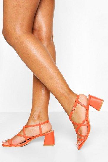 Orange Multi Strap Low Block Heels