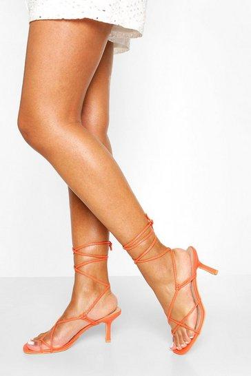 Orange Wrap Up Strappy Low Stiletto Heels