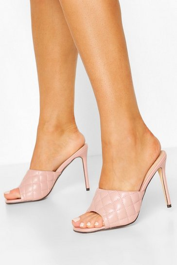 Nude Square Toe Quilted Mules