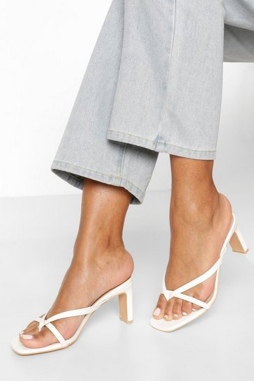 White Toe Post Low Flat Heel Sandals