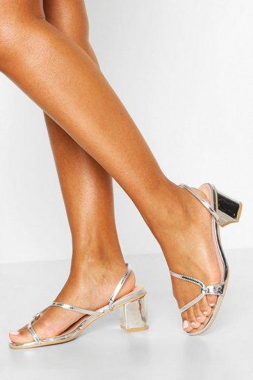 Silver Cured Strap Low Block Heel Mules