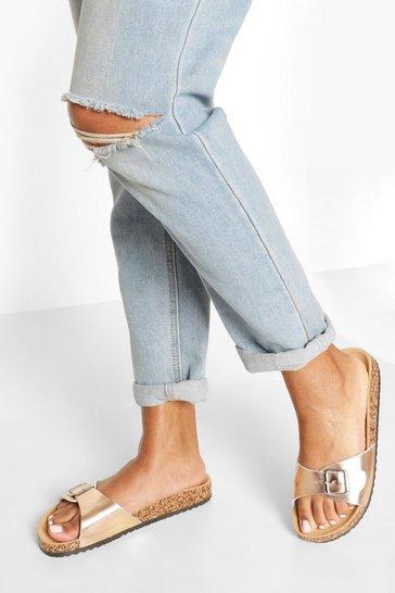 Rose gold Single Strap Footbed Sliders
