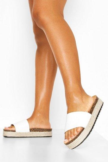 White Croc Single Strap Footbed Sliders