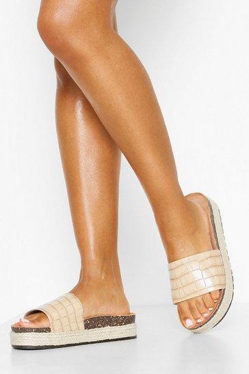 Nude Croc Single Strap Footbed Sliders