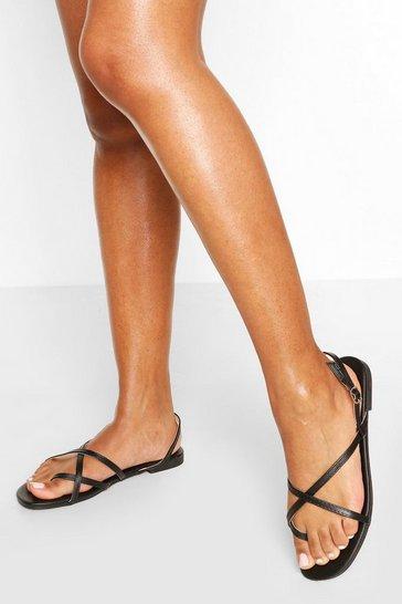 Black Cross Strap Basic Sandals