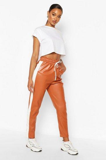 Tan Leather Look Sports Stripe Panel Trouser