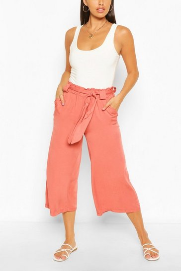Rose Relaxed Tie Waist Woven Culottes
